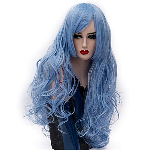 LONGLOVE European and American Wigs European and American Fashion Big Wave Long Curly Hair (Sky Blue) by LONG LOVE