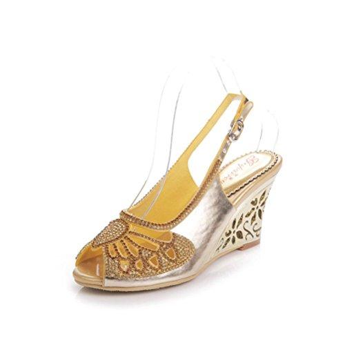 QPYC Señoras caladas zapatos de diamantes de imitación sandalias de boca de pescado tacones finos de diamantes de cristal de tacón alto Sandalias de hebilla de tamaño grande 43 44 golden (wedge heel)