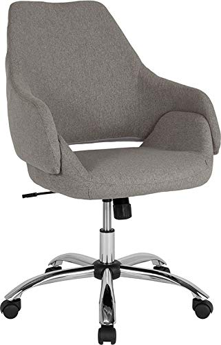 StarSun Depot Madrid Home and Office Upholstered Mid-Back Chair in Light Gray Fabric 27
