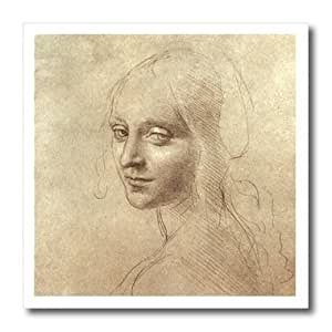 ht_5310_1 Leonardo Da Vinci - Drawing of the Face of the Angel - Iron on Heat Transfers - 8x8 Iron on Heat Transfer for White Material