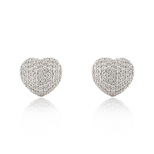 925 Sterling Silver Sparkling Cubic Zirconia CZ Puff Heart Love Stud Earrings