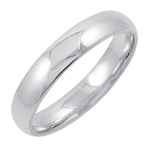 Men's 14K White Gold 4mm Comfort Fit Plain Wedding Band (Available Ring Sizes 8-12 1/2) Size 12 -