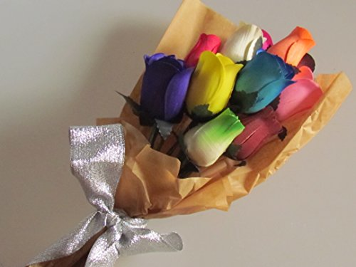 Scented Rainbow Forever Roses With A Refresher Spray In A Box - Floral Bouquet Fragrance 13 Rose Buds US Handmade
