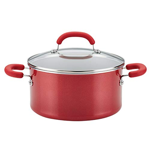 affordable Rachael Ray 12164 Create Delicious Nonstick Stock Pot/Stockpot with Lid - 6 Quart, Red
