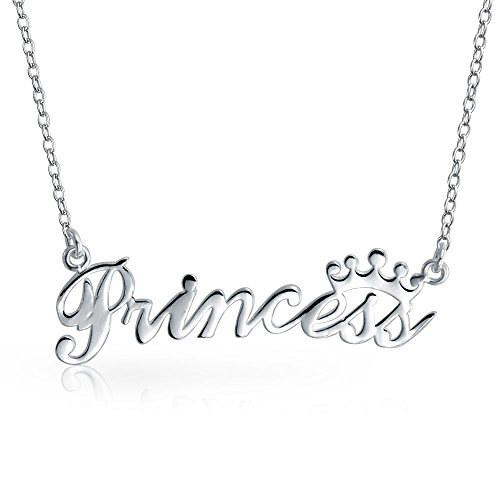 Princess And Crown Necklace Name Plate Pendant For Women 925 Sterling Silver 16 Inches