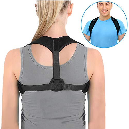 Hzrfun Back Posture Corrector for Women & Men - Adjustable Back Support Posture Corrector Brace with Comfortable Chest & Back Brace Support for Lower Back & Neck Pain & Slouching & Hunching, Black