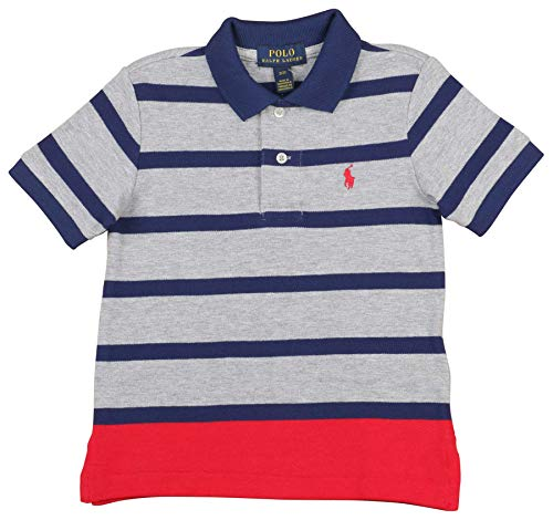 Polo RL Toddler Boys' (2T-4T) Stripe Mesh Polo Shirt (2T, Grey - Ralph Kids Clothes Lauren