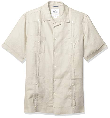 28 Palms Men's Relaxed-Fit Short-Sleeve 100% Linen 4-Pocket Pleated Guayabera Shirt, Natural, X-Large ()