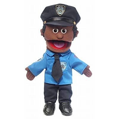 "14"" Policeman, Black Male, Hand Puppet"