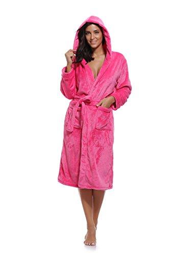 Luvrobes Women's Plush Fleece Hooded Robe Ultra-Soft Long Bathrobe (L/XL,Fuchsia)