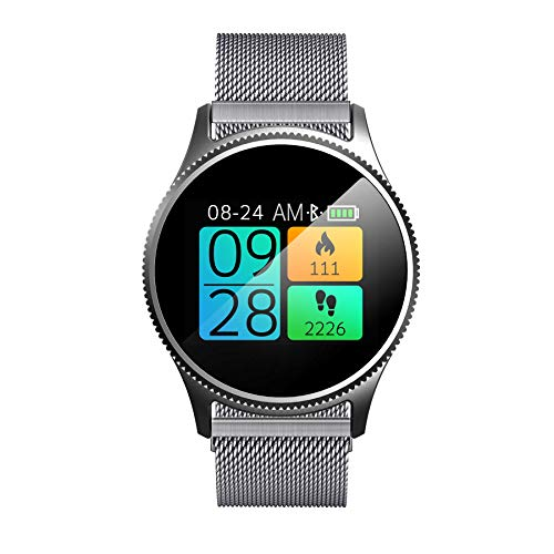 (Licupiee Smart Watch Stainless Steel Band IPX65 Waterproof Wristwatch Smartwatch Heart Rate Monitor Activity Trackers Valentine's Gift Expressing Love (Silver))