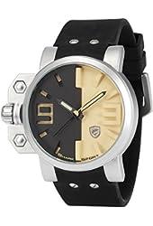 Shark Men's Quartz Miltary Sport Wrist Watch 3D Dial Oversized Crown Black Silicone SH170