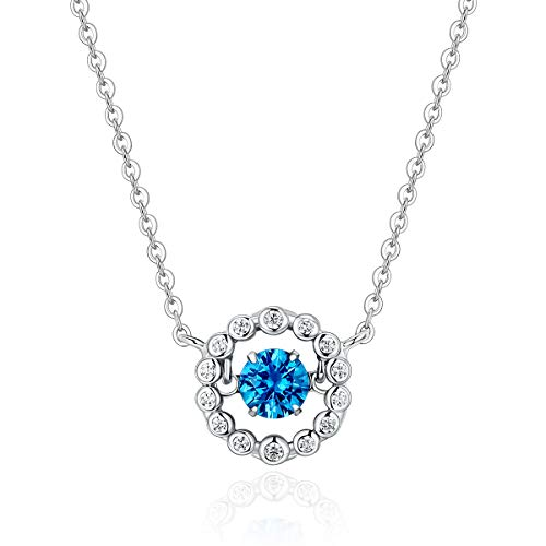 Dancing Blue Sapphire Diamond Pendant Necklace Womens Jewelry Silver Gold Open Circle Round 925 Sterling Charms Teen Girls Crystal Cubic Zirconia Fashion Gift (Round dancing-blue)