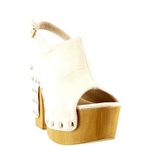 Angkorly - Chaussure Mode Sabot Sandale plateforme femme clouté bois Talon haut bloc 12.5 CM - Rose
