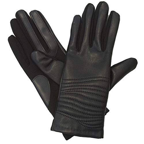 - Isotoner Women's Genuine Leather Gloves with SmarTouch Technology and Fleece Lining, L/XL Black