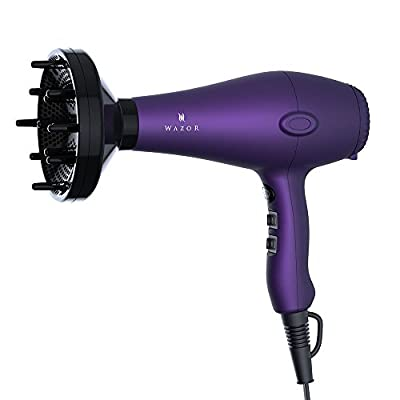 Wazor Hair Dryer 1875W Ceramic Negative Ionic Blow Dryer With 2 Speed and 3 Heat Settings Cool Shot Button Purple