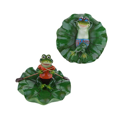 Fityle 2x Lying & Rowing Frogs Pond Lifelike Water Floating Lotus Leaf Ornament Sculpture Bathtub Toys Resin Artificial Animals Home Decor by Fityle