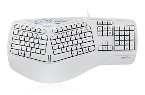 Perixx PERIBOARD-512II W, Ergonomic Split Keyboard - White - Natural Ergonomic Design - Wired USB Interface - Recommended with Repetitive Stress Injuries RSI User