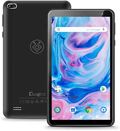 7 inch Android 10.0 Tablet qunyiCO Y7, 2GB RAM 32GB Storage, Dual Camera Quad-Core 1024 x 600 IPS HD Display Screen Bluetooth Wi-Fi Only, Google GMS Certified 3000mAh Black