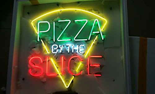 PIZZA SLICE Neon Art Sign 24×24 inch, Real Glass Neon Signs Custom Designed Neon Open Sign, Perfect Home Decor. Eye-catching Neon Bar Sign.
