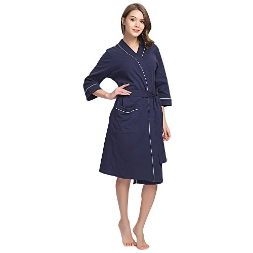 M&M Mymoon Womens Cotton Robe Soft Breathable Kimono Robes Knit Bathrobe Loungewear Short Sleepwear (Navy Blue, - Womens Old Waffle Navy