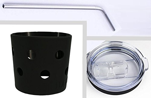 DANG Accessory Kit for Yeti 20 Ounce Rambler – Sleeve, Lid, Straw (Black)