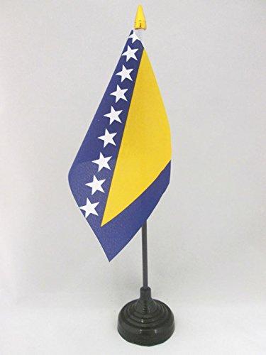 BANDIERA DA TAVOLO BOSNIA ED ERZEGOVINA 15x10cm punta dorata - PICCOLA BANDIERINA BOSNIACA 10 x 15 cm - AZ FLAG