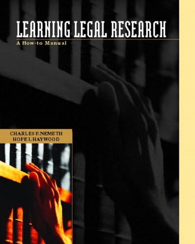 Learning Legal Research: A How-to Manual