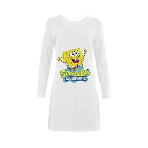 [Women's SpongeBob SquarePants Logo Sleep Dress Nightshirt Sleep T-Shirt Long Sleeve White] (Spongebob Dress)