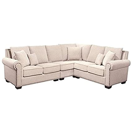 Bowery Hill Fabric Nailhead Sectional Sofa In Sandstone