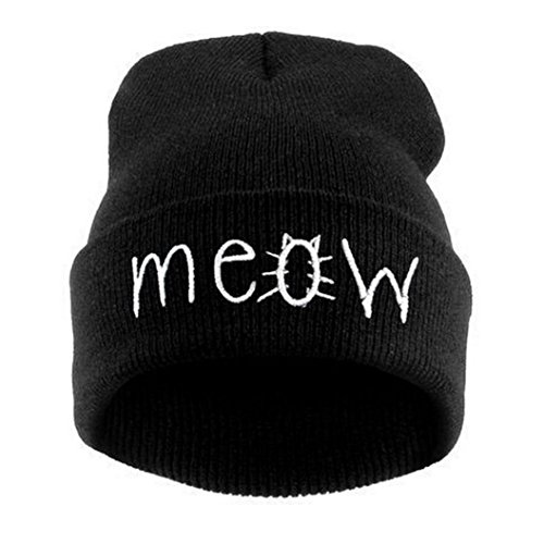 Lavany Winter Knit MEOW Beanie Hat And Snapback Men And Women Hiphop Caps (Black)