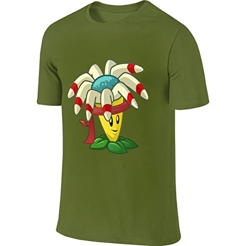 NICOTE Mens Custom Casual Tees Plants Vs Zombies Bloomerang Tshirts Moss Green]()