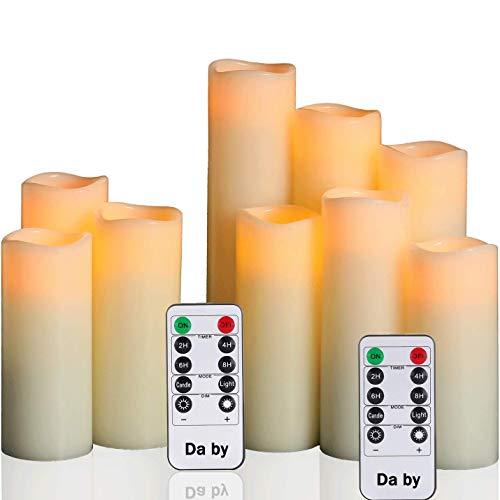 Da by Flameless Candles Battery Candles Set of 9(H 4