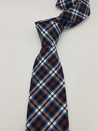 Corbata de cuadros azul y marrón hecho a mano hand made: Amazon.es ...