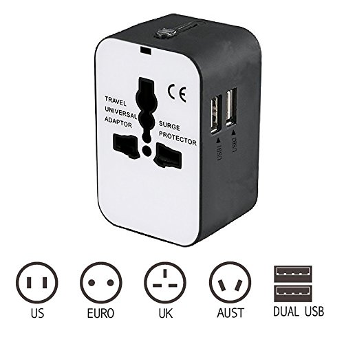 Outeam Travel Adapter,Worldwide All in One International Travel Adapter,Converters Wall AC Power Plug Adapter Charger with Dual USB Charging Ports for EU UK USA/AUS
