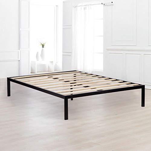 BestMassage Bed Frame Metal Platform Bed Queen Mattress Foundation Heavy Duty Wood Slat with Bedroom No Box Spring Needed,Black