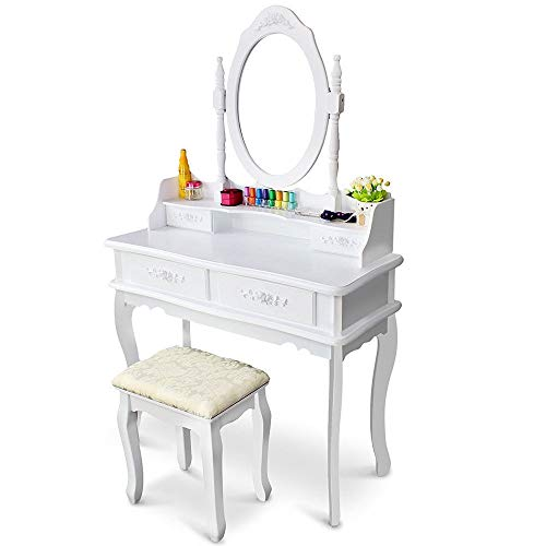 Unique Charm White Vanity Set Mirror 360 Degree with Stool Table 4 Drawer Storage Sturdy Solid Wooden Style Home Office Bedroom Dressing room Craftsmanship Modern Home Bedroom Dressing ()