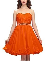 Dresstells® Short Chiffon Prom Dress Sweetheart Bridesmaid Dress with Beads