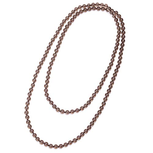 Smoky Quartz Stones Endless Necklace Long Beaded Strand Handmade Knotted Jewelry for Unisex