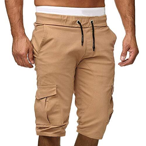 Pleated Brushed Twill Slack - hositor Mens Workout Pants, Men Sweatpants Slacks Casual Elastic Joggings Sport Solid Baggy Pockets Trousers Khaki