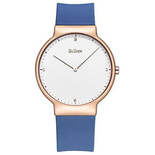 Womens Watches,Lady Simple Fashion Design Casual Business Dress Analogue Quartz Silicone Wrist Watch (Blue)