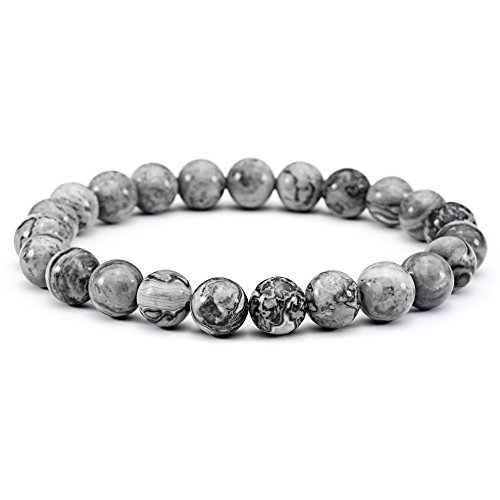 Men Bracelets Natural Stone Healing Energy Balance Beads  8Mm  Stretch 7  7 5  Gray