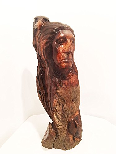 (IECAP LLC Native American, Eagle and Buffalo. Hand Crafted from Solid Ironwood. Rich in Detail, Many Hours Dedicated to creat This Gorgeous Hand Made Sculpture. 25