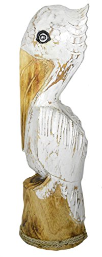 Cheap Hand Carved Wood White Pelican Nautical Statue Art