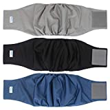 """Teamoy 3 Pack Male Dog Diaper Wrap with Gray Lining, Washable Puppy Belly Bands, Super-Absorbent and Comfortable (XL,25""""-29"""" Waist, Black+Gray+Dark Blue)"""