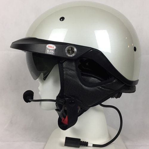 Bell Pit Boss With J&M 284 Headset and Lower Cord Harley Davidson - Pearl White - 284 Helmet Headsets