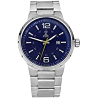 [Patrocinado] Nobel clásico Unisex reloj de pulsera con pulsera de acero inoxidable, color azul/amarillo–Ronda movimiento suizo