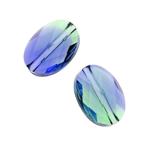 Swarovski Crystal, 5050 Oval Beads 14mm, 2 Pieces, Provence Lavender/Chrysolite Blend