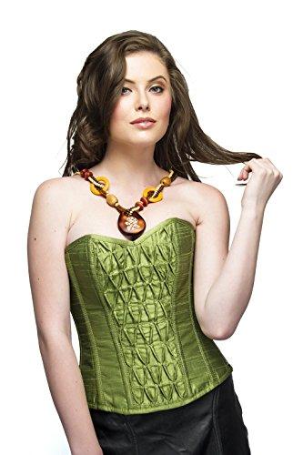 読み書きのできない毛布思春期Pea Green Silk Gothic Burlesque Waist Cincher Bustier Basque Overbust Corset Top