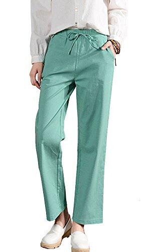 Pant Linen Career (Sheicon Women Linen Cotton Blend Elastic Waist Drawstring Pencil Pants With Pockets Color Green Size L)